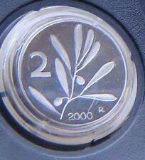 ITALIA  2 LIRE  2000 FONDO SPECCHIO   PROOF  DA SERIE ZECCA SIGILLATA