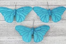 Large Satin Butterflies Butterfly 13 Colours Weddings Crafts Florist Wire Tiffany Blue 3 Butterflys