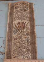 "Antique French 1920s Silk & Metallic Floral Velvet Fabric~L-44"" X W-9"""