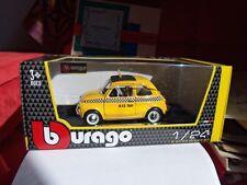 """Burago-scala 1-24- FIAT 500  F-""""TAXI di  New-York""""- Italian Design-Nuova in Box-"""