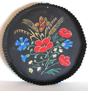 "17.5"" Primitive Hand Painted Bohemian Flowers METAL Pan TRAY Folk Art FREE SH"