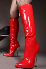 Giaro BE BRAVE Red Shiny fetish boots with Silver Heel
