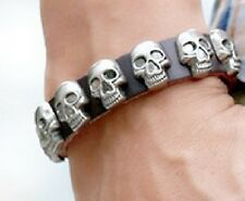 REAL BLACK LEATHER SKULL WRISTBAND WRIST STRAP PUNK SKELETON HEAD PIRATE UK A108