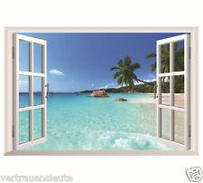 Wandtattoo Wandaufkleber Fenster Hawaii Meer Insel Strand Wohnzimme Schlafzimmer