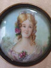 Peinture Miniature en médaillon -Portrait femme-painting