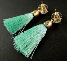 Bohemian Green Dangle Golden Glass Stud Earrings with Polyester Tassels # 1081