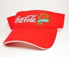 "COCA COLA COKE ""FISHING"" Red Embroidered VISOR OPEN TOP HAT CAP - Adjustable"