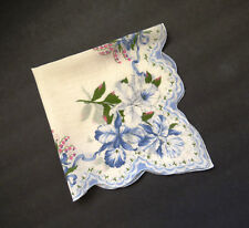 Blue Daffodils Petunias Iris Lilly of the Valley Vintage Floral Handkerchief