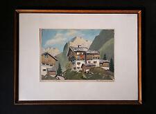 Bauernhaus in Tirol. Original signiertes Aquarell v. PAUL HELBING MÜNCHEN
