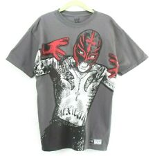 WWE Authentic Rey Mysterio Portrait Gray T-Shirt M Respect The Mask