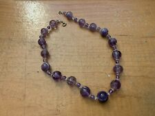 Antique Chinese Large Carved Amethyst Beaded Necklace With Calligraphy