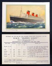POSTCARD 1960 R.M.S. Queen Mary with Cunard Log on Reverse NB516