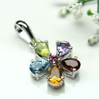 AAA+ Natural Multi Color Stone Faceted Pear Gemstone 925 Sterling Silver Pendant