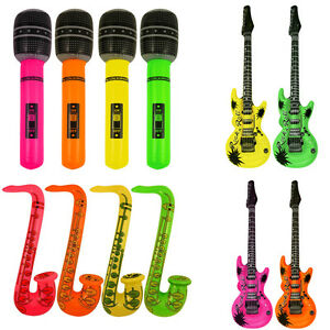 Inflatable Guitar Microphone Saxophone Kids Party Blow up Music Instruments New