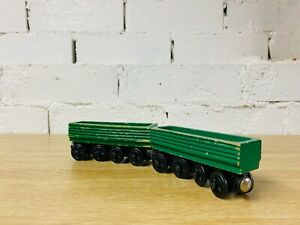 Henry's Log Car Green x2 No Name - Thomas & Friends Wooden Railway Trains