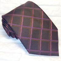 Krawatte seide check braun breit  Morgana marke Italien business / hochzeit