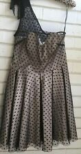 NWT TOP SHOP LIMITED COLLECTION BLACK & CREAM ONE SHOULDER PARTY DRESS SIZE 14