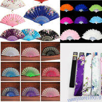 Lace Fabric Feather Folding Hand Held Dance Fan Party Wedding Art Acc Tool Kit