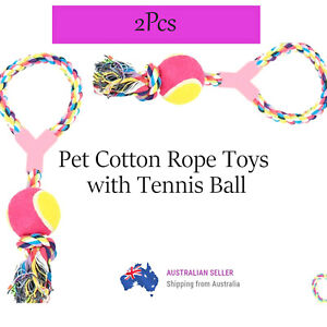 Pet Cotton Rope Toys With Tennis Ball 2 Pcs Durable Quality Tug Dog Toy Outdoor
