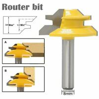 45Degree Lock Miter Router Bit 8mm Shank Trimmer Milling Joint Tenon Cutter Tool