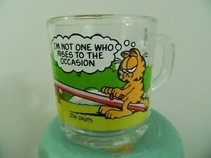 1980 McDonalds Garfield Characters Cartoon Clear Drink Glass Litho Jim Davis USA