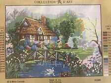 needlepoint penelope canvas   col de art           COTTAGE AND LAKE