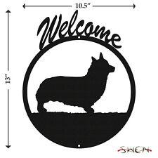 Welsh Pembroke Corgi Black Metal Welcome Sign *NEW*