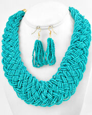 CHUNKY Braided TURQUOISE BLUE Seed Bead Gold Tone Fashion Jewelry Necklace Set