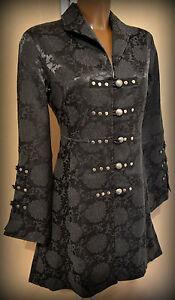 Mantel Jacke Gothic Barock Stil Gehrock NEU schwarz bedruckt Gr. 36, 38, 40, 42