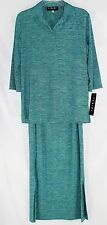 NWT Fenini Women's Small Blue Green Slinky 3pc Top Skirt & Pants Travel Set