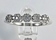 Delicate 5 stone cluster dress ring in white gold