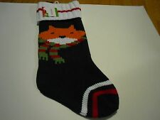 New !  black and white Cat Knit Christmas Stockings Holiday Decorations
