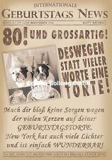 Glückwunschkarte zum 80.Geburtstag-s-News*Hund*Zeitung Grußkarte mit Humor