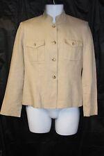 Ralph Lauren Womens sz 4 Tan Blouse Safari Military Blazer Linen Vintage Beige