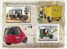 POSTAL MAIL VEHICLES (Hungary/Italy/Brazil/USA) Car Stamp Sheet (2008 Comoros)