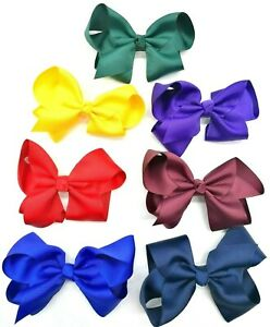 Pair of Girls Hair Bows School Ribbon Style Hair bow with Clips Slides Barrettes