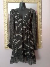 Pretty Sheer Black Boho Dress ~ floaty ~ fit 10-12~ party or casual ~ indie ☆vgc