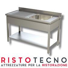 Lavatoio Lavello inox 1 vasca con sgocciolatoio SINISTRO. Cm. 120x70x85H.
