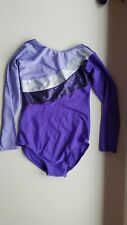 TAPPERS & POINTERS girls gymnastics LEOTARD size 2 9-10 years long sleeve PURPLE