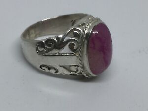 Handmade 925 sterling silver men ring natural colored ruby 10ct   10 USA Size.