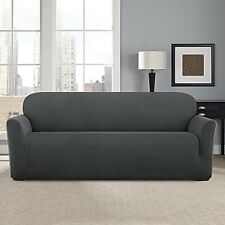 Sure Fit Stretch Modern Chevron Sofa Slipcover Carbon Gray Grey Box Cushion