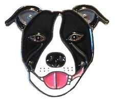 noir et blanc chien BULL-TERRIER DE STAFFORDSHIRE métal émail Staffie épinglette