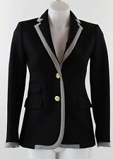 J. Crew Black Grey Trim 100% Wool Button Front Jacket Blazer Size 0