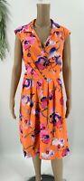 Ellen Tracy Womens Belted Sheath Dress Size 14 Orange Floral Print Short Sleeve