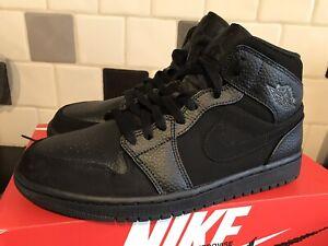 Nike Air Jordan 1 Mid Triple Black UK 7.5 Retro Rare