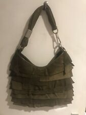 Yves Saint Laurent Khaki Green Suede and Leather Fringed Vintage Bag Handbag