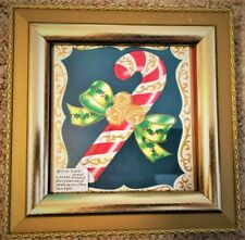 Vintage Framed Christmas Card Candy Cane With Bow