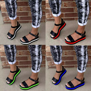 Womens Ladies Flatform Summer Ankle Strap Sandals Chunky Platform Strappy Shoes