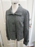 Women's EMANUEL UNGARO 6 Black Gray Wool Button Light Blazer Dress Jacket Coat