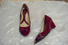 womens naturalizer bonna dark red patent open toe wedge heels shoes size 6 1/2